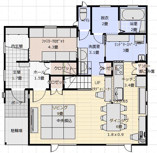 西側道路46坪家事楽住宅1階