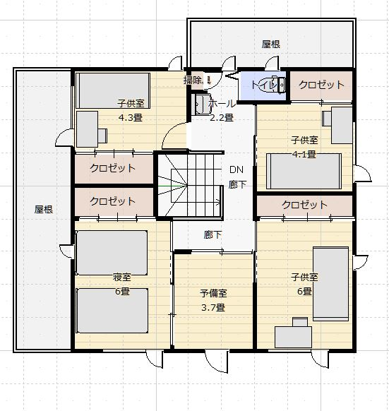 西側道路46坪家事楽住宅2階