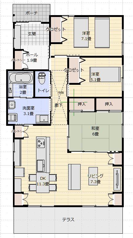 間取り25~30坪平屋建て3LDK北玄関車いす対応