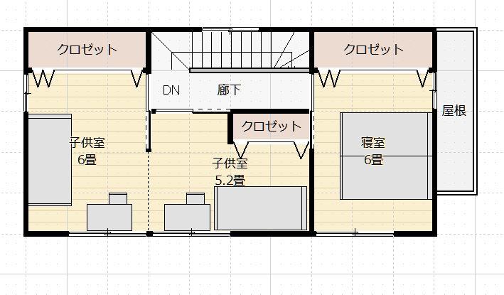 間取り30~35坪4LDK東玄関2階