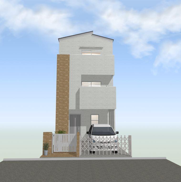 間どり30~35坪南入り4LDK3階建て外観