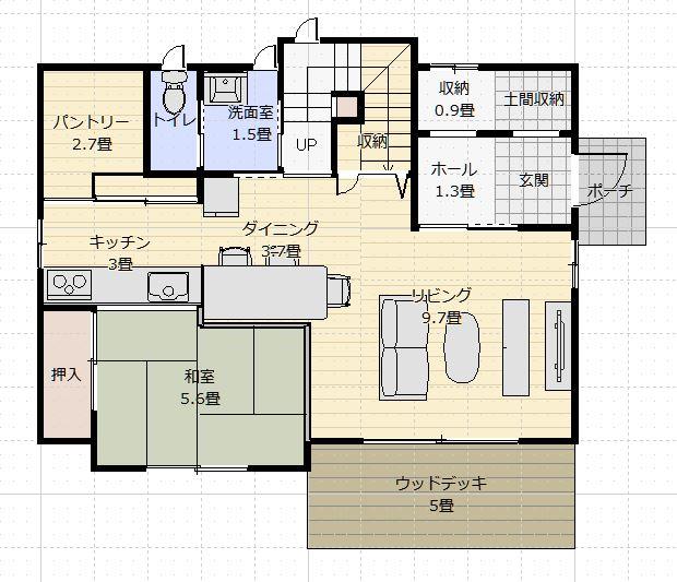 間取り35~40坪5LDK2階浴室小上がりダイニング1f