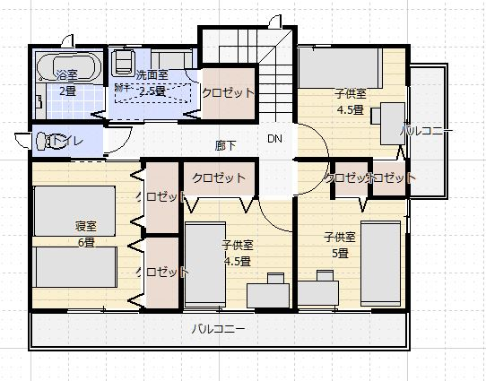 間取り35~40坪5LDK2階浴室小上がりダイニング2f