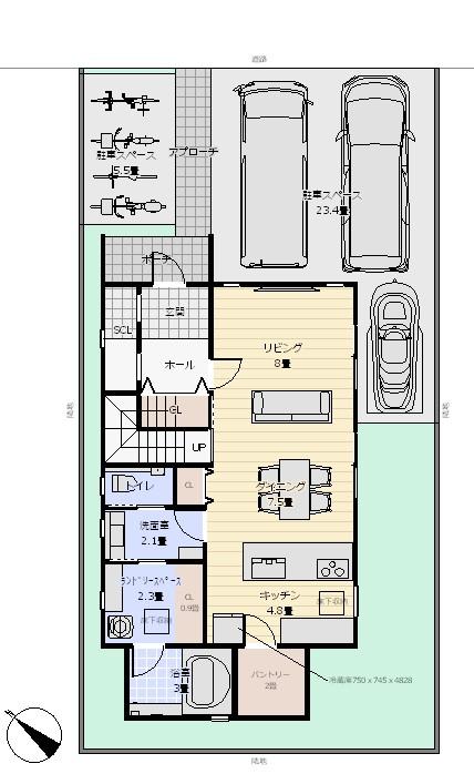 38坪北玄関4LDK 配置図