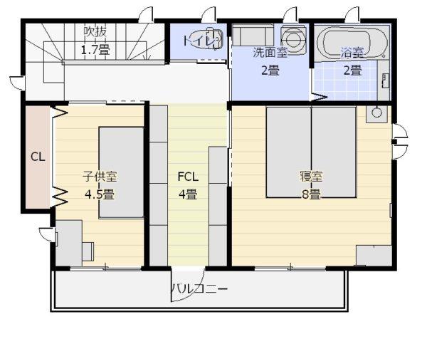 26坪2階水廻りの家2階平面図