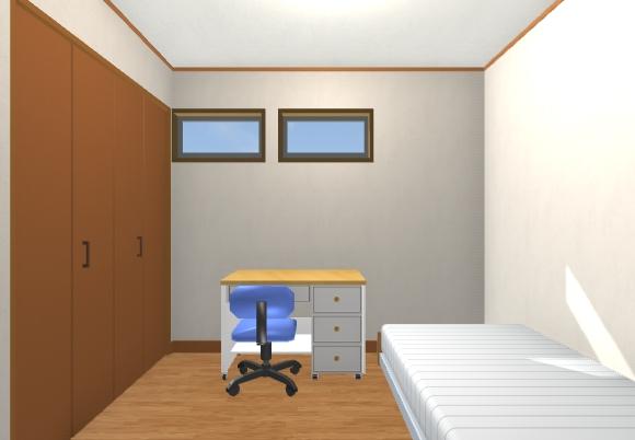 27坪2階デッキの2階リビング子供室