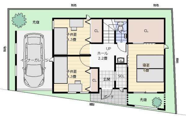 27坪2階デッキの2階リビング配置図
