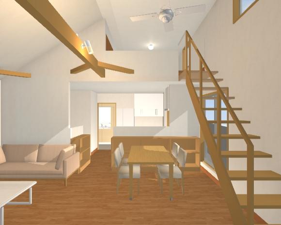 27坪2階デッキの2階リビング ロフト内観図