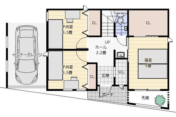 27坪2階デッキの2階リビング1平面図
