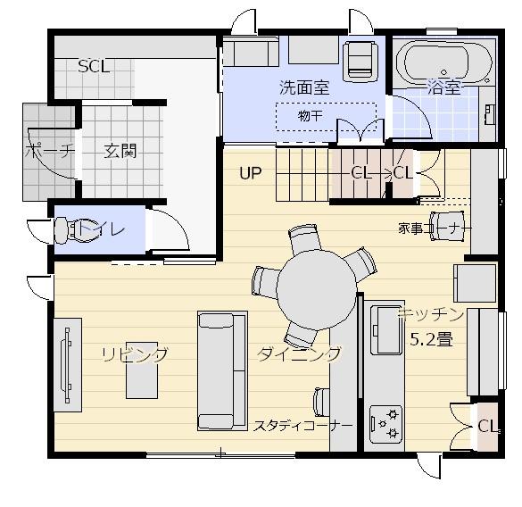 28坪南西角地1階平面図1