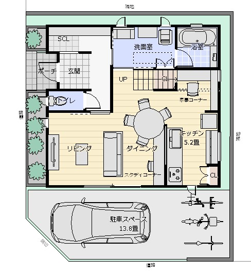28坪南西角地2階配置図1