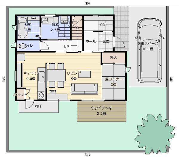 30坪対面式キッチン 配置図