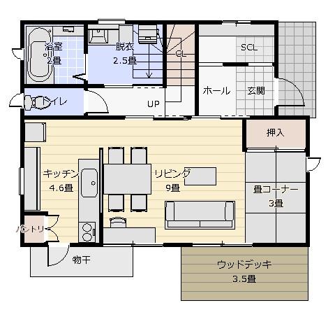 30坪対面式キッチン 1階平面図