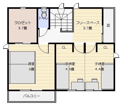 30坪対面式キッチン 2階平面図