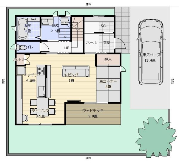 31坪横並びキッチン最小プラン配置図