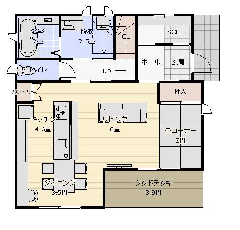 31坪横並びキッチン最小プラン1階平面図