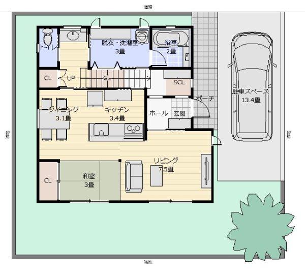 32坪家事重視配置図