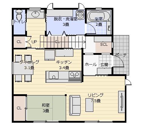 32坪家事重視1階平面図