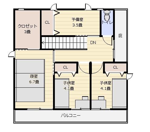 32坪家事重視2階平面図