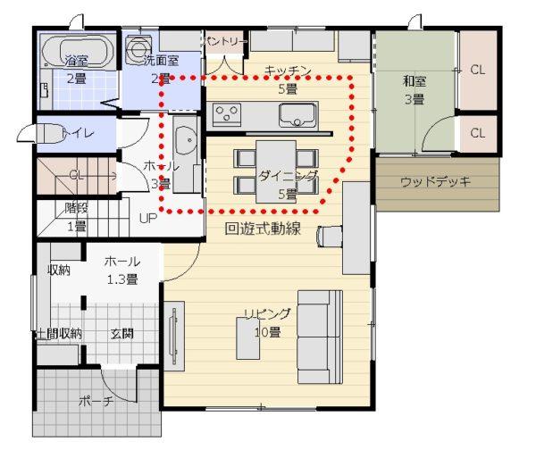 35坪3LDK+和2面窓動線図