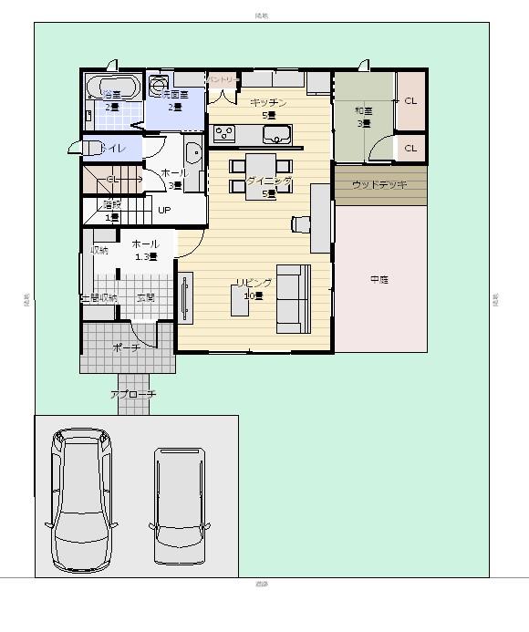35坪3LDK+和2面窓配置図