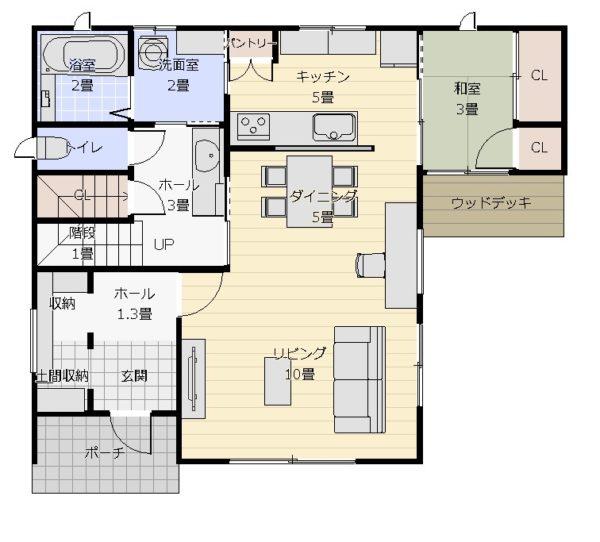 35坪3LDK+和2面窓1階平面図