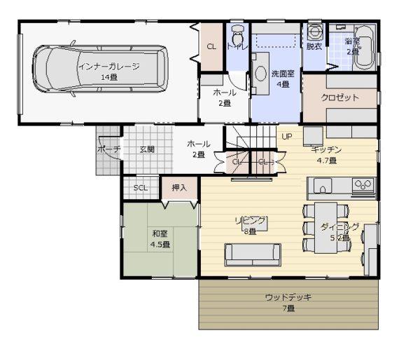 36坪インナーガレージのある家1階平面図