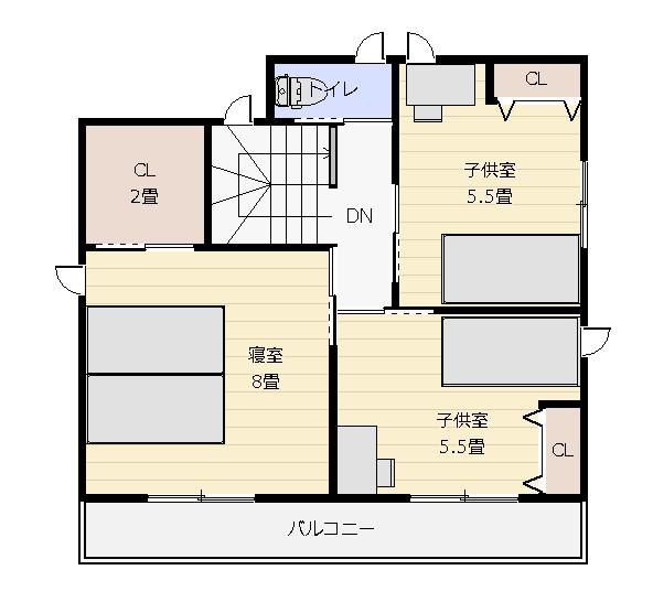 36坪インナーガレージのある家2階平面図