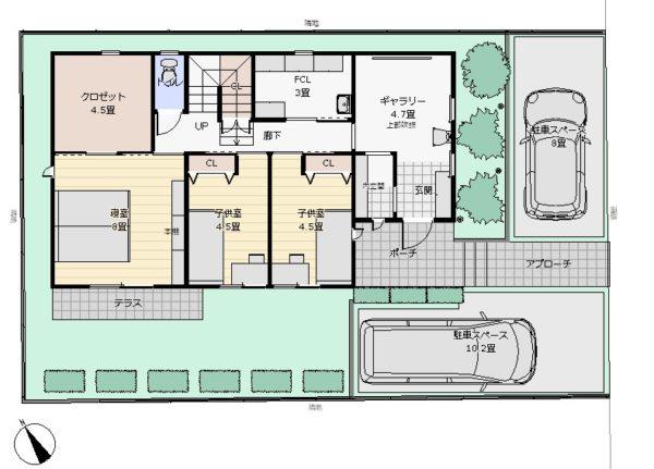 36坪2階リビング配置図