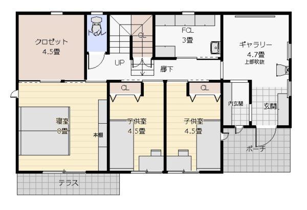 36坪2階リビング1階平面図