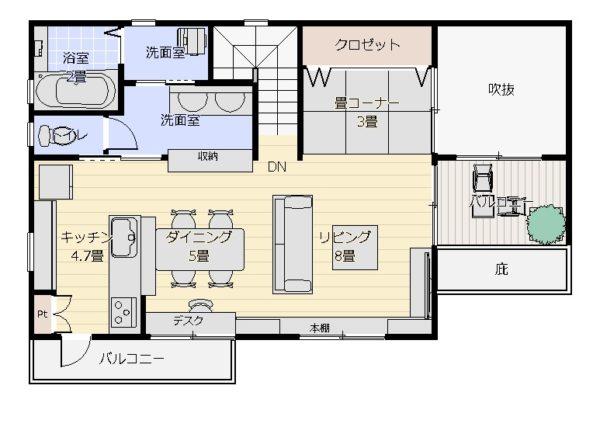 36坪2階リビング2階平面図