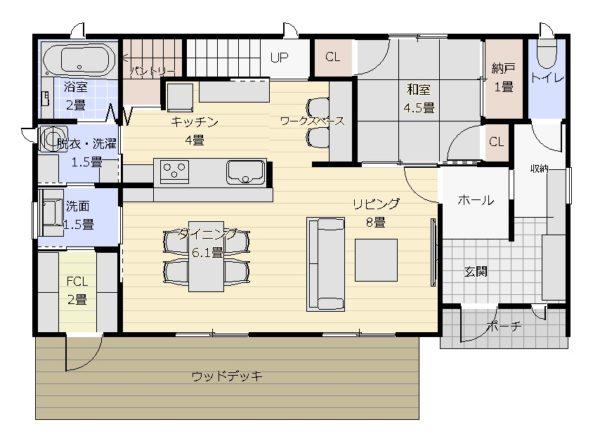 36坪3LDK+和1階平面図