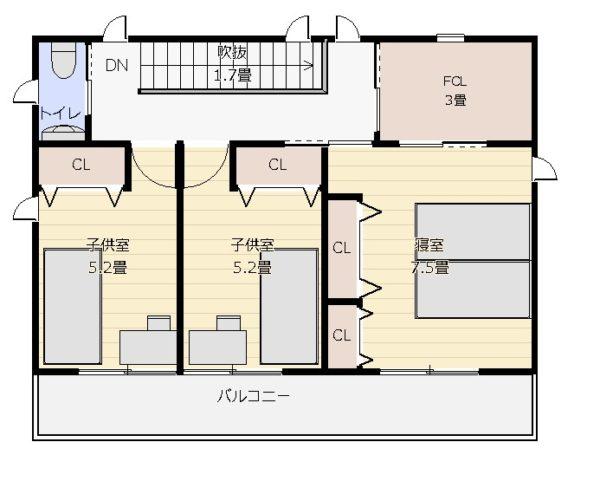 36坪3LDK+和2階平面図