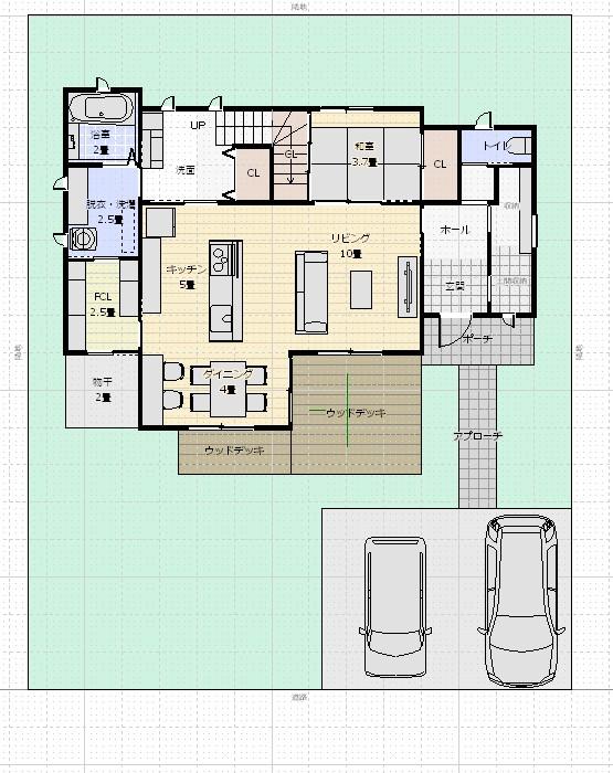 37坪3LDK+和1階配置図1